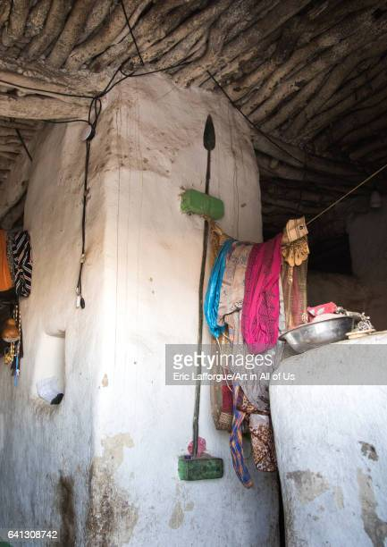 Spear in a house in a traditional Argoba stone houses village on January 12 2017 in Koremi Ethiopia