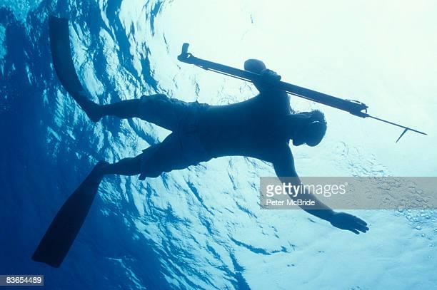 Spearfishing in ocean.
