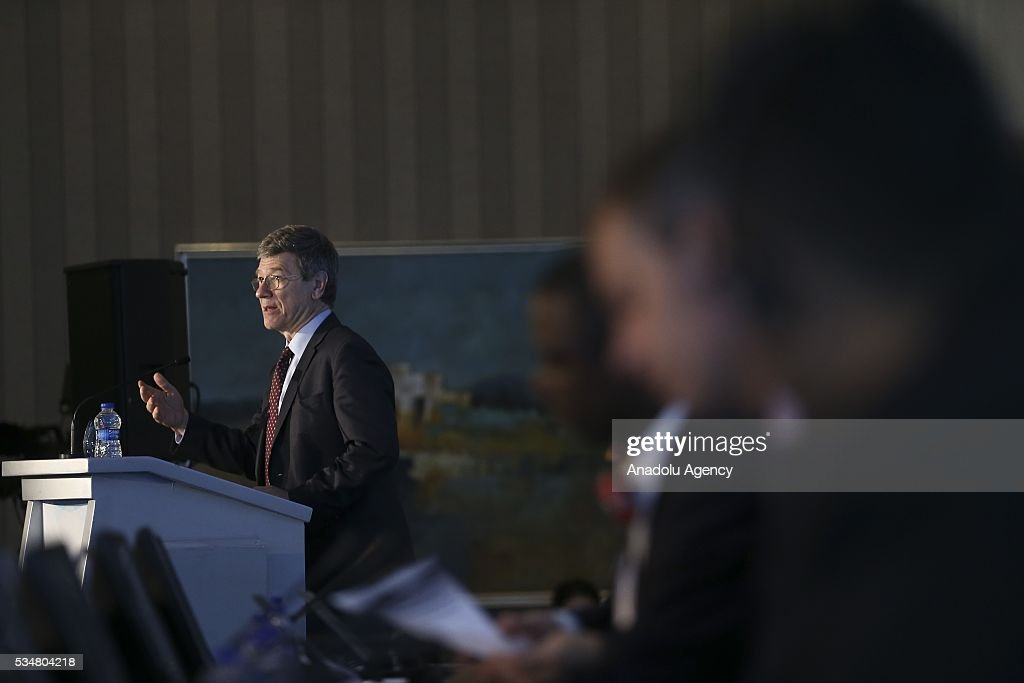 Special Adviser to United Nations Secretary-General Ban Ki-Moon, Jeffrey Sachs (L) attends 'Trade and commodities and economic diversification and graduation' meeting during the Midterm Review of the Istanbul Programme of Action at Titanic Hotel in Antalya, Turkey on May 28, 2016. The Midterm Review conference for the Istanbul Programme of Action for the Least Developed Countries takes place in Antalya, Turkey from 27-29 May 2016.