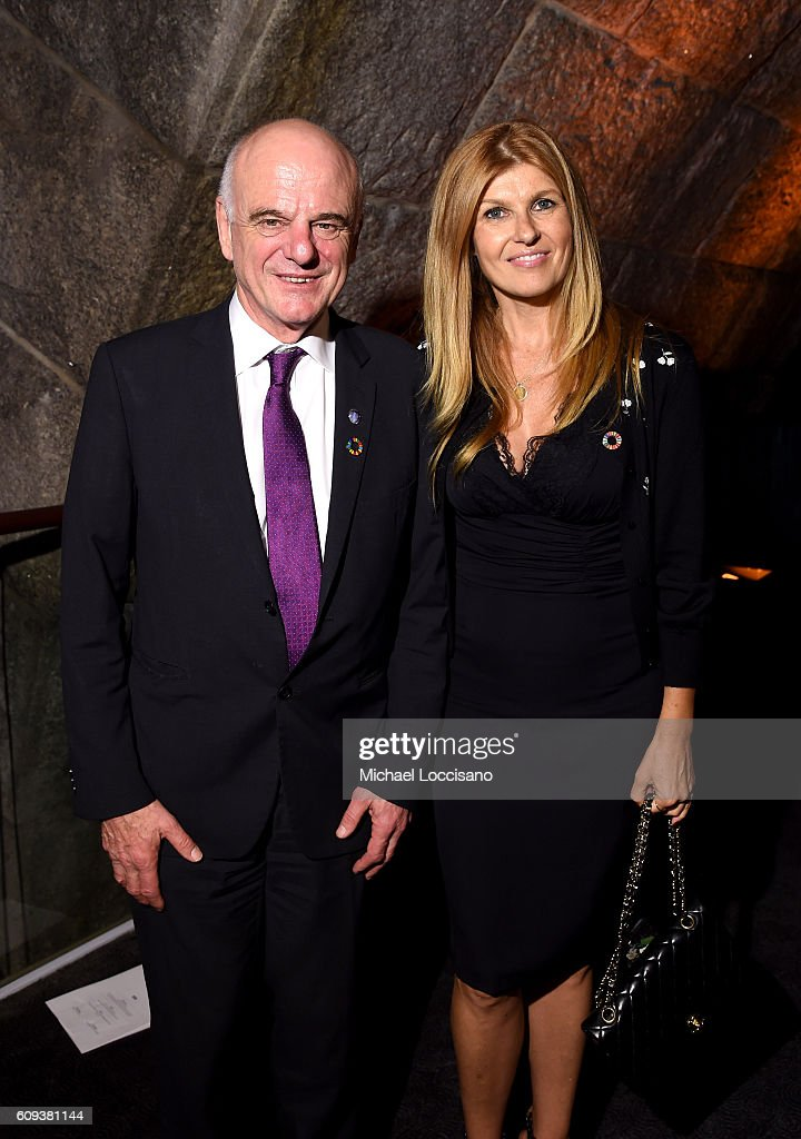 UN Special Advisor on the 2030 Agenda for Sustainable Development, David Nabarro (L) and Connie Britton attend 2016 Global Goals Awards Dinner at Gustavino's on September 20, 2016 in New York City.