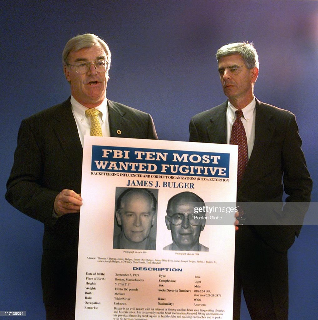 Special Agent in Charge Barry Mawn US Attorney General Donald Stern hold a press conference naming Whitey Bulger to the FBI's Most Wanted List