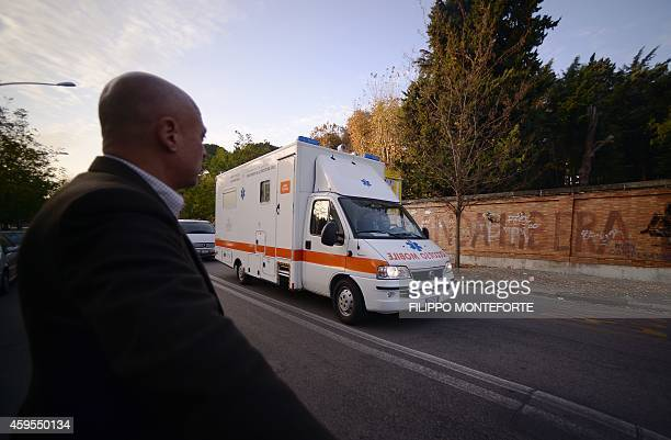 A special ambulance arrive at the Lazzero Spallanzani hospital after an Boeing KC767 landing at the military airport of Pratica di Mare near Rome...