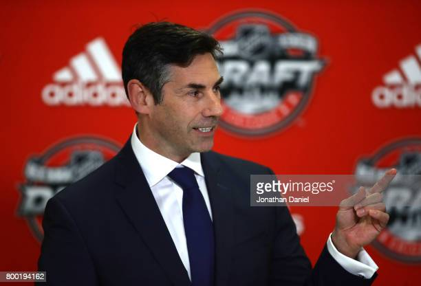 Special Assistant to the Executive Director Mathieu Schneider speaks to the media during a press conference for the 'Hockey Is For Everyone' Chicago...