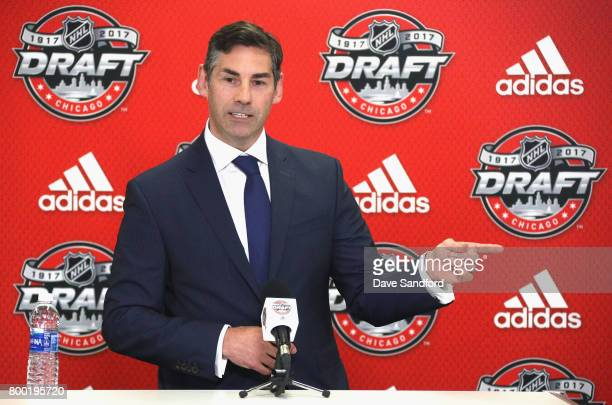 Special Assistant to the Executive Director Mathieu Schneider speaks to the media during the NHL NHLPA NCAA Press Conference before the 2017 NHL...