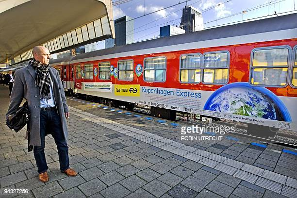 A special Climatesummittrain arrives at the Central Station in Rotterdam on December 12 2009 The Climate train stops at seven stations where more...