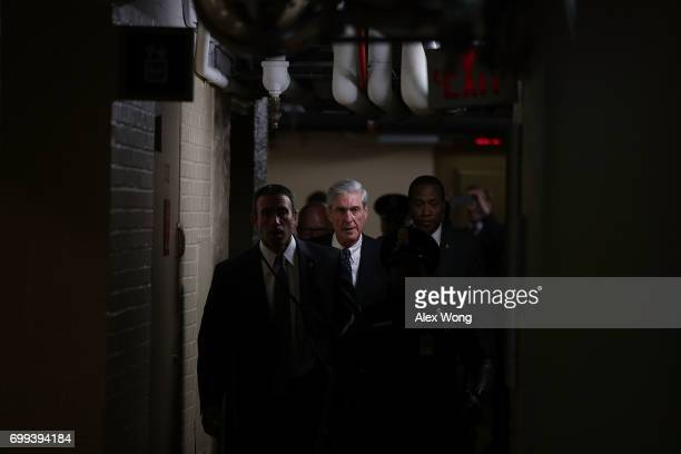 Special counsel Robert Mueller leaves after a closed meeting with members of the Senate Judiciary Committee June 21 2017 at the Capitol in Washington...