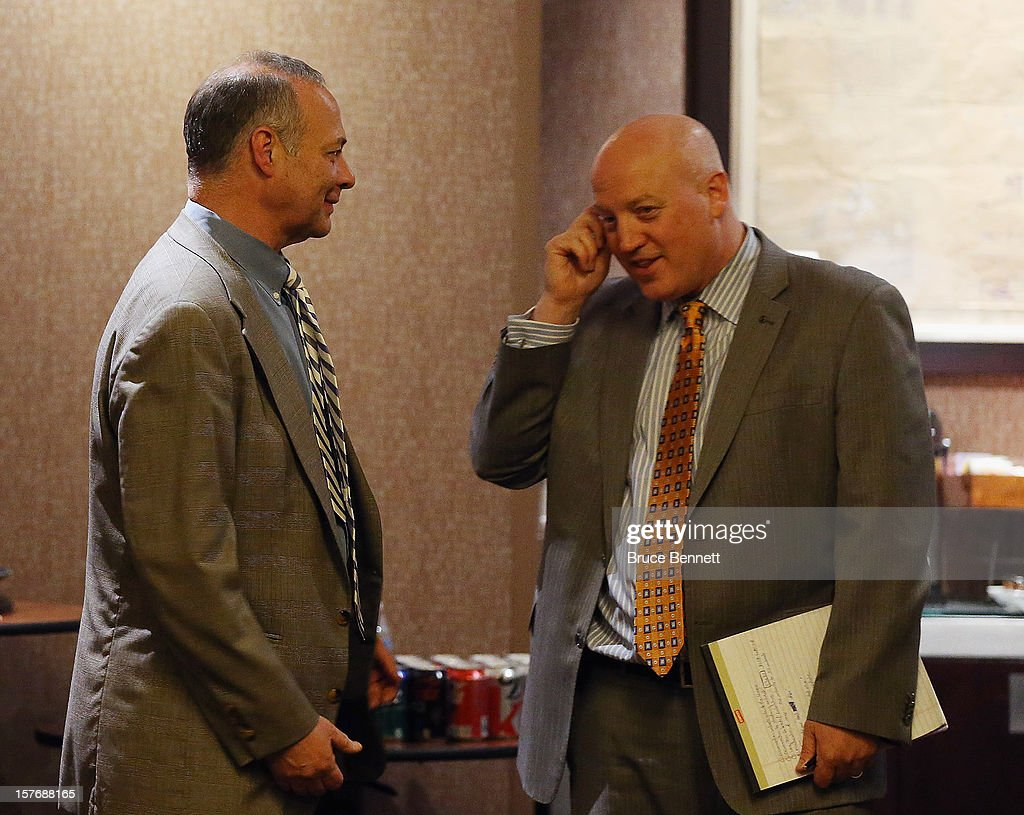 Special counsel to the NHL Players Association Steve Fehr and Bill Daly, Executive Director of the NHL, discuss negotiations with the NHL Players Association at the Westin Times Square on December 5, 2012 in New York City.