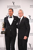 Special Directorate Award Recipient Chairman CEO HBO Richard Plepler and presenter actor Michael Douglas pose for pictures during the 43rd...
