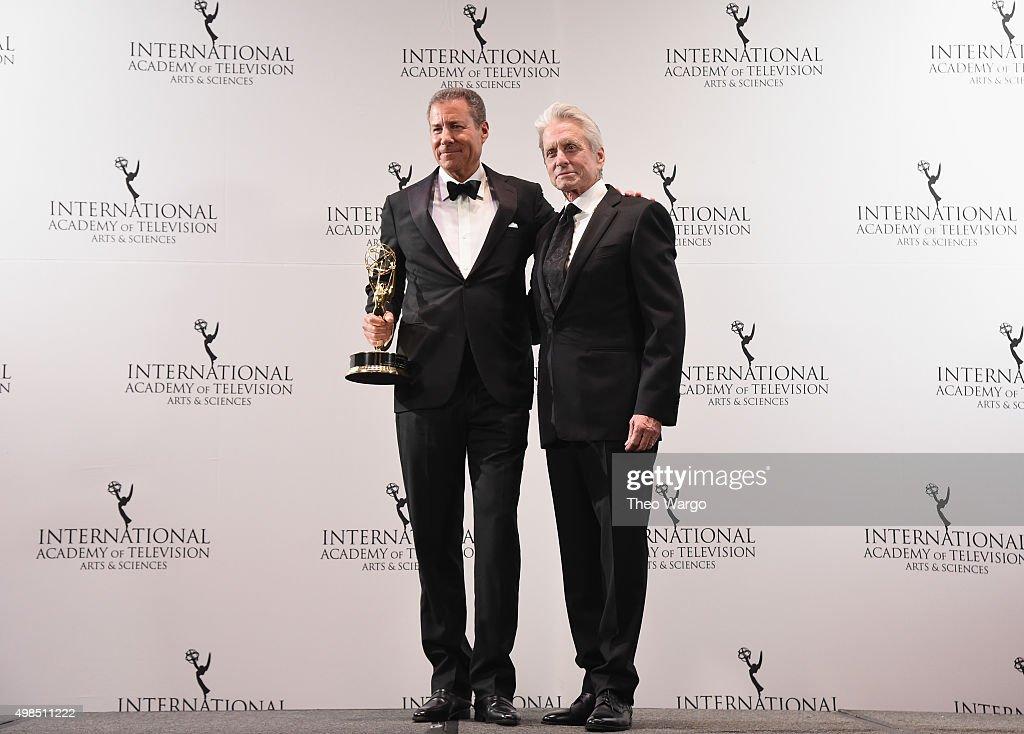 Special Directorate Award Recipient Chairman CEO Home Box Office Richard Plepler and Presenter Actor Michael Douglas attend 43rd International Emmy...