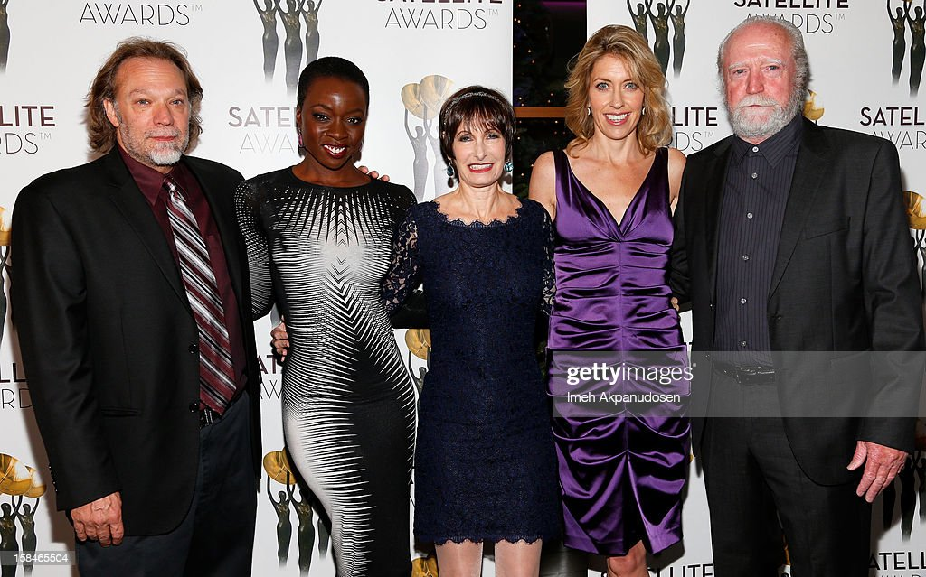 Special effects artist Gregory Nicotero, actress Danai Gurira, producers <a gi-track='captionPersonalityLinkClicked' href=/galleries/search?phrase=Gale+Anne+Hurd&family=editorial&specificpeople=228412 ng-click='$event.stopPropagation()'>Gale Anne Hurd</a> and Denise M. Huth, and actor Scott Wilson attend International Press Academy's 17th Annual Satellite Awards at InterContinental Hotel on December 16, 2012 in Century City, California.