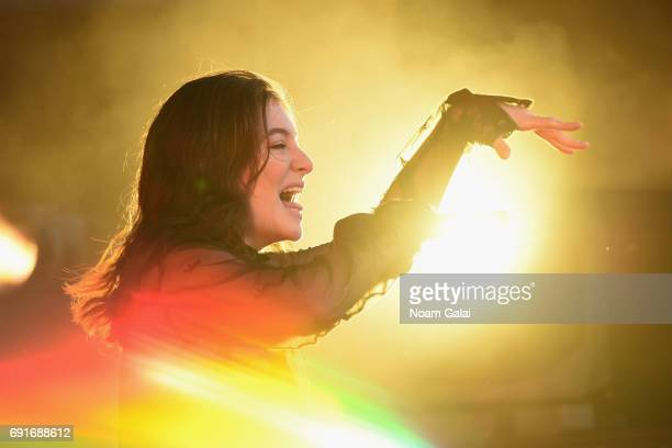 A special effects camera filter was used for this image Lorde performs onstage during the 2017 Governors Ball Music Festival Day 1 at Randall's...