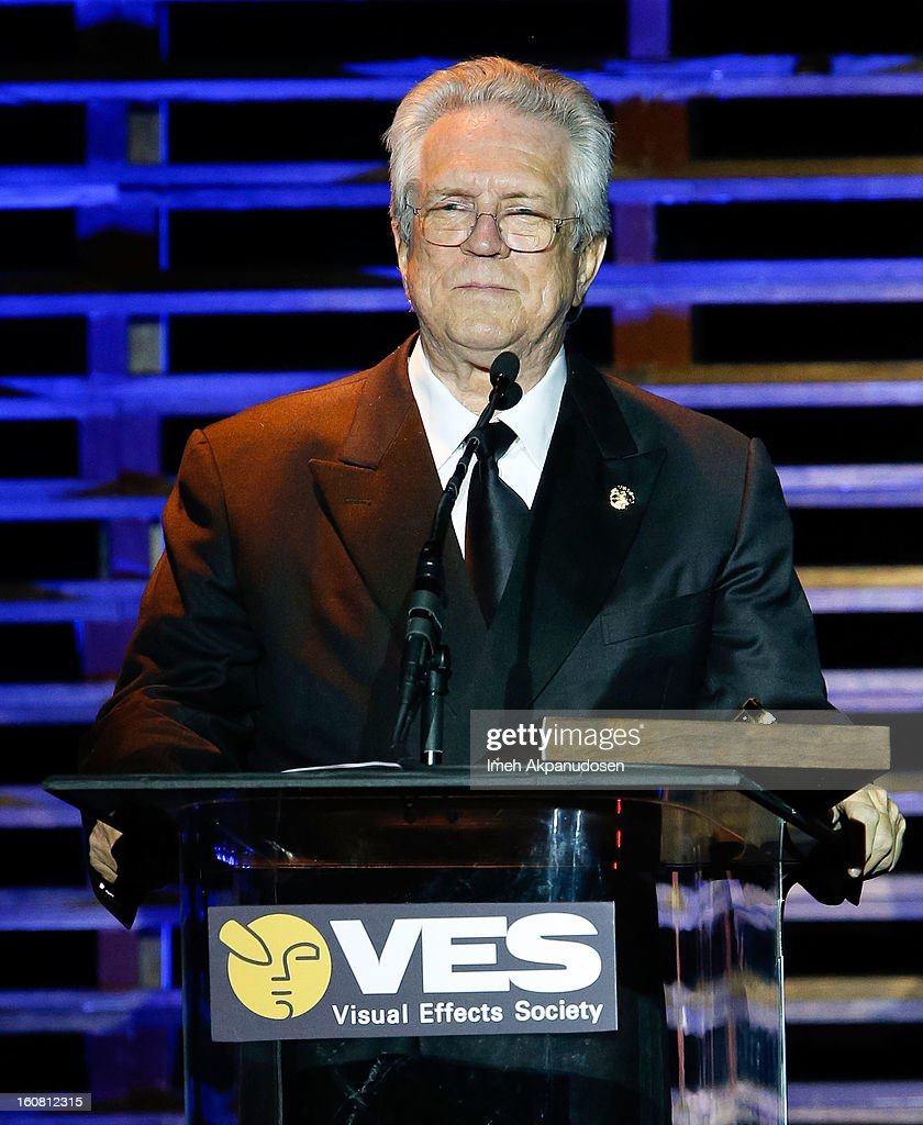 Special effects cinematographer Richard Edlund speaks onstage after receiving the Lifetime Achievement Award at the 11th Annual Visual Effects Society Awards at The Beverly Hilton Hotel on February 5, 2013 in Beverly Hills, California.