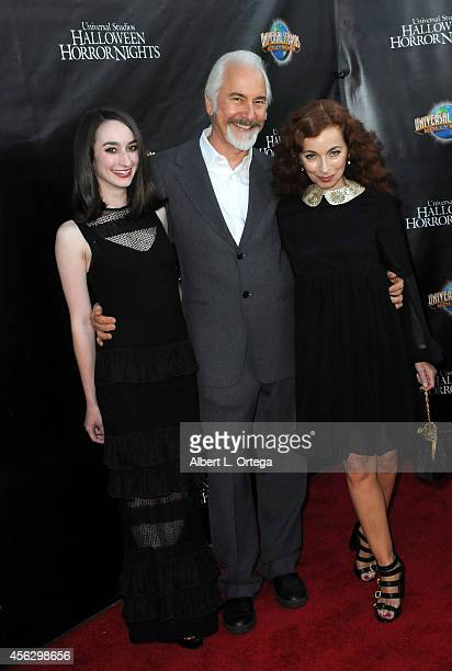 Special Effects Makeup Artist Rick Baker daughter Veronica Baker and wife Silvia Abascal arrive for Universal Studios Hollywood 'Halloween Horror...