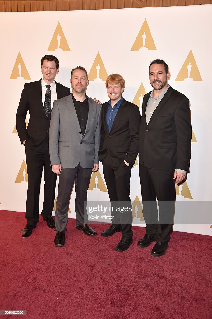 Special Effects supervisor <a gi-track='captionPersonalityLinkClicked' href=/galleries/search?phrase=Cameron+Waldbauer&family=editorial&specificpeople=13945100 ng-click='$event.stopPropagation()'>Cameron Waldbauer</a>, visual effects supervisor Jason Smith, animation supervisor <a gi-track='captionPersonalityLinkClicked' href=/galleries/search?phrase=Matt+Shumway&family=editorial&specificpeople=10184182 ng-click='$event.stopPropagation()'>Matt Shumway</a> and visual effects supervisor Richard McBride attend the 88th Annual Academy Awards nominee luncheon on February 8, 2016 in Beverly Hills, California.