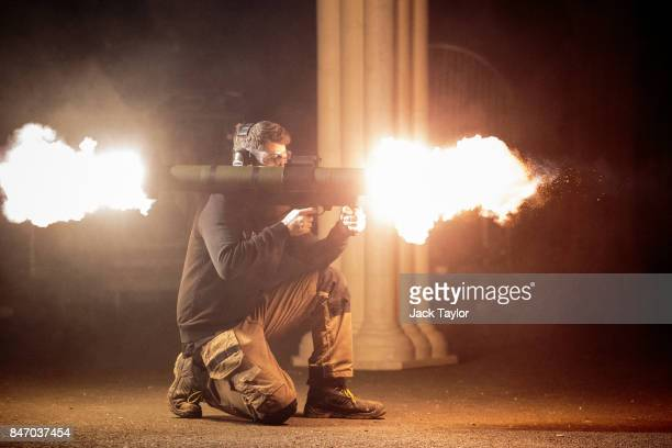 Special effects technician David RigleyWilliamson fires a MATADOR rocket launcher during an open evening at the Artem special effects workshop on...