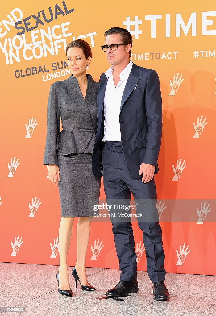 UN Special Envoy and actress Angelina Jolie and Actor Brad Pitt attend the Global Summit to End Sexual Violence in Conflict at ExCel on June 13, 2014 in London, England. The four-day conference on sexual violence in war is hosted by Foreign Secretary William Hague and UN Special Envoy and actress Angelina Jolie.