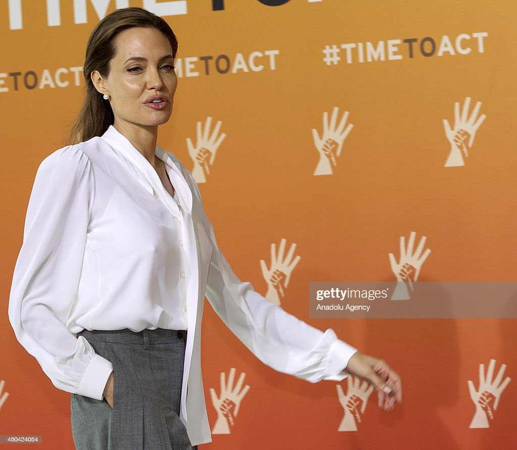 UN Special Envoy and actress <a gi-track='captionPersonalityLinkClicked' href=/galleries/search?phrase=Angelina+Jolie&family=editorial&specificpeople=201591 ng-click='$event.stopPropagation()'>Angelina Jolie</a> attends the Global Summit To End Sexual Violence In Conflict on June 11, 2014 in London, England. The four-day conference on sexual violence in war is hosted by Foreign Secretary William Hague and UN Special Envoy and actress <a gi-track='captionPersonalityLinkClicked' href=/galleries/search?phrase=Angelina+Jolie&family=editorial&specificpeople=201591 ng-click='$event.stopPropagation()'>Angelina Jolie</a>.