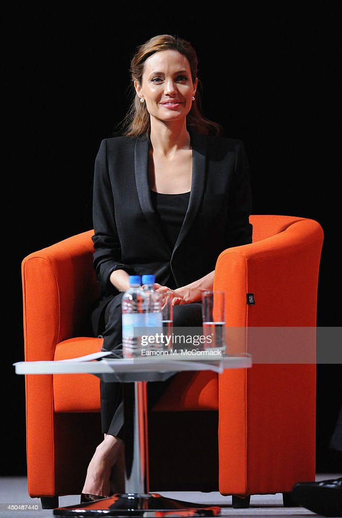 UN Special Envoy and actress <a gi-track='captionPersonalityLinkClicked' href=/galleries/search?phrase=Angelina+Jolie&family=editorial&specificpeople=201591 ng-click='$event.stopPropagation()'>Angelina Jolie</a> attends the Global Summit to End Sexual Violence in Conflict at ExCel on June 12, 2014 in London, England. The four-day conference on sexual violence in war is hosted by Foreign Secretary William Hague and UN Special Envoy and actress <a gi-track='captionPersonalityLinkClicked' href=/galleries/search?phrase=Angelina+Jolie&family=editorial&specificpeople=201591 ng-click='$event.stopPropagation()'>Angelina Jolie</a>. at ExCel on June 12, 2014 in London, England.