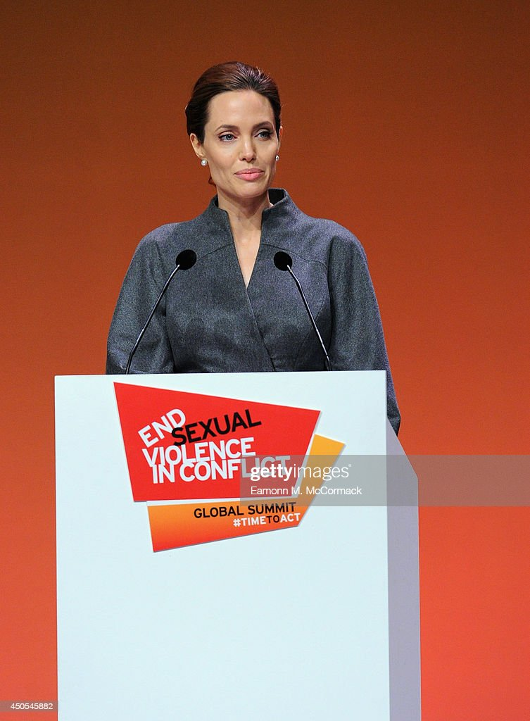 UN Special Envoy and actress <a gi-track='captionPersonalityLinkClicked' href=/galleries/search?phrase=Angelina+Jolie&family=editorial&specificpeople=201591 ng-click='$event.stopPropagation()'>Angelina Jolie</a> attends the Global Summit to End Sexual Violence in Conflict at ExCel on June 13, 2014 in London, England. The four-day conference on sexual violence in war is hosted by Foreign Secretary William Hague and UN Special Envoy and actress <a gi-track='captionPersonalityLinkClicked' href=/galleries/search?phrase=Angelina+Jolie&family=editorial&specificpeople=201591 ng-click='$event.stopPropagation()'>Angelina Jolie</a>.
