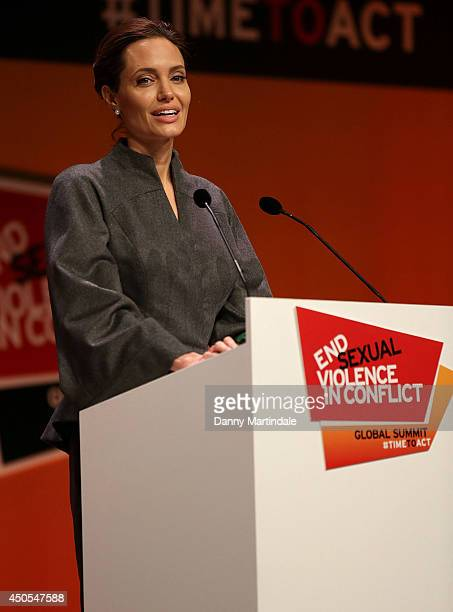 UN special envoy and actress Angelina Jolie gives a speech at the Global Summit to end Sexual Violence in Conflict at ExCel on June 13 2014 in London...