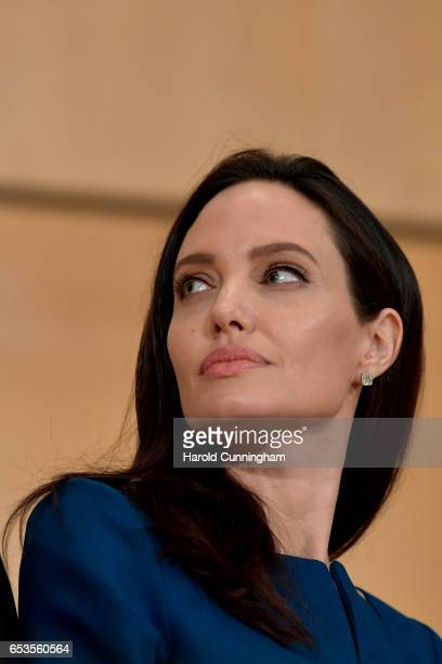 Special Envoy Angelina Jolie prepares to speak at the annual lecture of the Sergio Vieira De Mello Foundation held at the United Nations Office at...