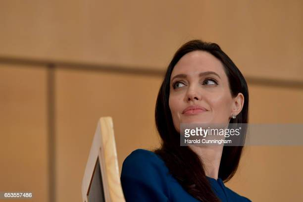 Special Envoy Angelina Jolie speaks at the annual lecture of the Sergio Vieira De Mello Foundation held at the United Nations Office at Geneva on...