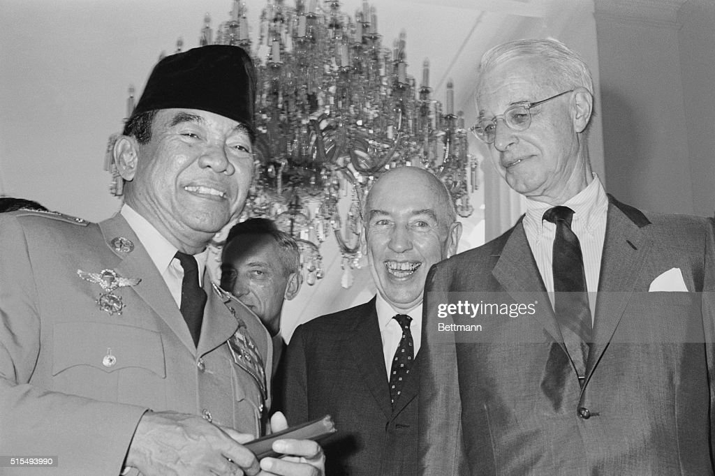 U.S. Special Envoy Ellsworth Bunker, right, and Ambassador Howard P. Jones, center, chatting with Indonesian President <a gi-track='captionPersonalityLinkClicked' href=/galleries/search?phrase=Sukarno&family=editorial&specificpeople=209275 ng-click='$event.stopPropagation()'>Sukarno</a> April 6, 1965, at the Presidential Palace in Djakarta. The Americans met with Indonesian officials in efforts to stop the 'decline' of U.S. Indonesian relations.