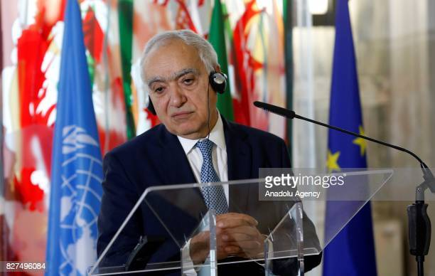 Special Envoy for Libya Ghassan Salame speaks during a joint press conference with Italian Foreign Minister Angelino Alfano following their meeting...