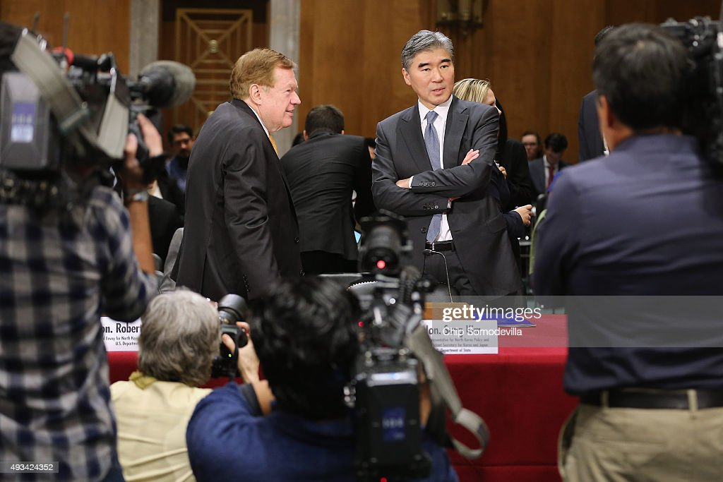 Special Envoy for North Korean Human Rights Issues Robert King and Deputy Assistant Secretary of State for Korea And Japan Sung Kim prepare to...