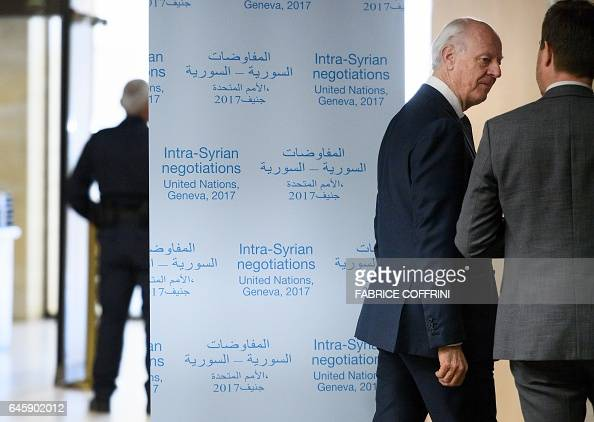 UN Special Envoy for Syria Staffan de Mistura arrives for a meeting during Syria peace talks on February 27 2017 in Geneva A ban on mobile phones...