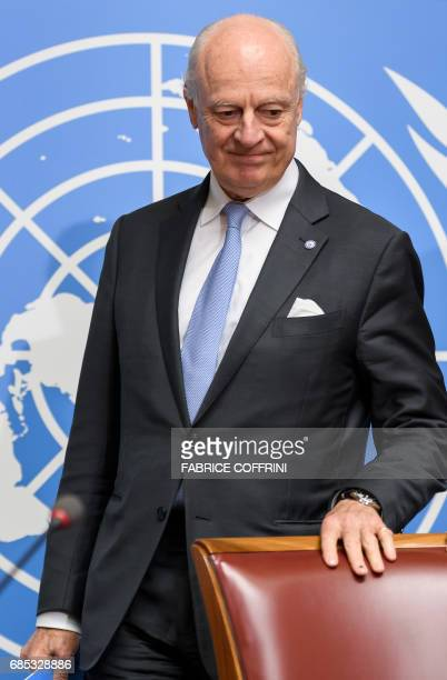 UN Special Envoy for Syria Staffan de Mistura arrives to a press conference following a round of Syria peace talks on May 19 2017 at the United...