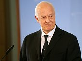 Special Envoy for Syria Staffan de Mistura attends a joint press conference with German Foreign Minister prior to their meeting at the foreign...