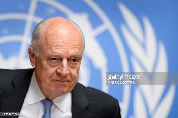 UN Special Envoy for Syria Staffan de Mistura attends a press conference following a round of Syria peace talks on May 19 2017 at the United Nations...