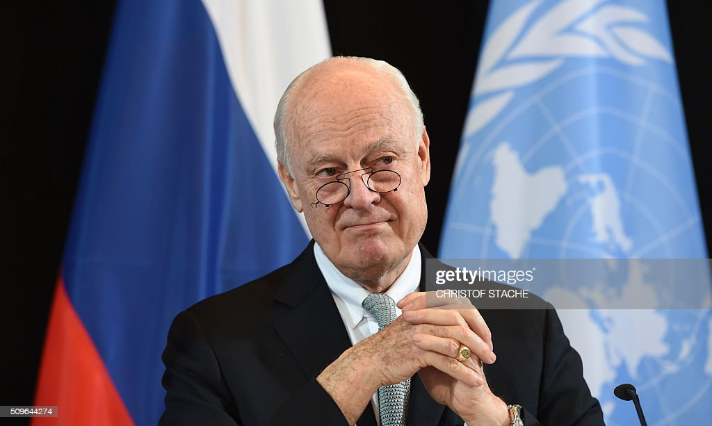 UN Special Envoy for Syria Staffan de Mistura follows a news conference after the International Syria Support Group (ISSG) meeting in Munich, southern Germany, on February 12, 2016. / AFP / Christof STACHE