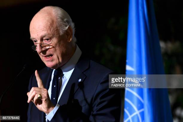 UN Special Envoy for Syria Staffan de Mistura gestures during a press conference following a meetings on Syria peace talks on March 24 2017 in Geneva...