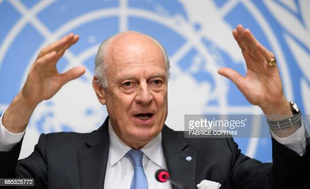 UN Special Envoy for Syria Staffan de Mistura gestures during a press conference following a round of Syria peace talks on May 19 2017 at the United...