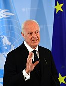 UN Special Envoy for Syria Staffan de Mistura gives a joint press statement with the German Foreign Minister before a meeting in Berlin on July 22...