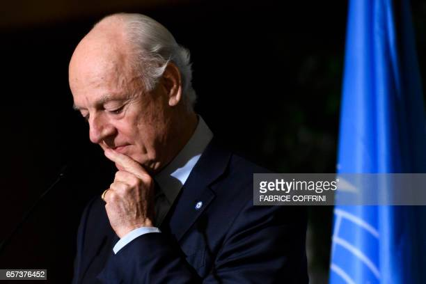 UN Special Envoy for Syria Staffan de Mistura looks on during a press conference following a meetings on Syria peace talks on March 24 2017 in Geneva...