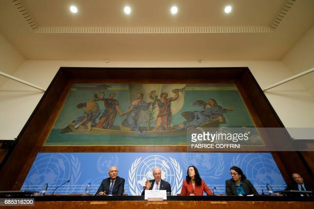 UN Special Envoy for Syria Staffan de Mistura speaks during a press conference following a round of Syria peace talks on May 19 2017 at the United...