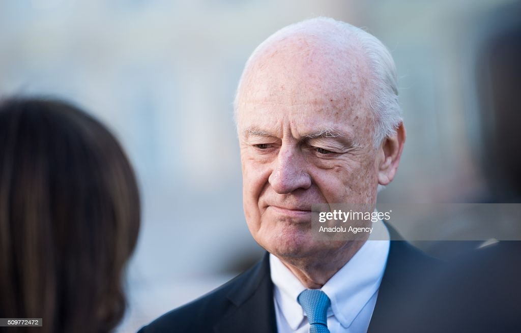 UN Special Envoy for Syria Staffan de Mistura speaks to the media during the 52nd Security Conference in Munich, Germany on February 12, 2016. The conference on security policy takes place from Feb. 12, 2016 until Feb. 14, 2016.