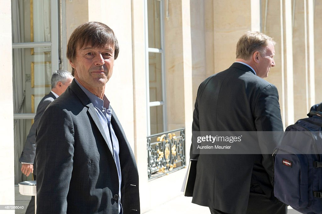 Special Envoy of the French President for the protection of the planet, <a gi-track='captionPersonalityLinkClicked' href=/galleries/search?phrase=Nicolas+Hulot&family=editorial&specificpeople=2372364 ng-click='$event.stopPropagation()'>Nicolas Hulot</a> attends the Conference prior the World Climate Summit at Elysee Palace on September 10, 2015 in Paris, France. The COP 21 will be held in Paris From Nov 30 to Dec 11, 2015 and will involve around 40,000 personnes with a representant of every countries to discuss climate changes. This will be the biggest Diplomatic event ever organised by France.