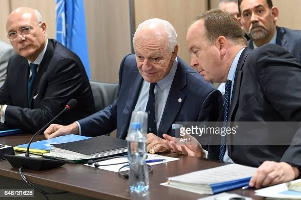 UN Special Envoy of the SecretaryGeneral for Syria Staffan de Mistura attends a meeting of Intra Syria peace talks at the European headquarters of...