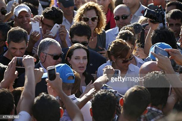 Special envoy of the UN High Commissioner for Refugees US actress Angelina Jolie visits the refugee camp of Mardin Turkey that hosts victims of the...