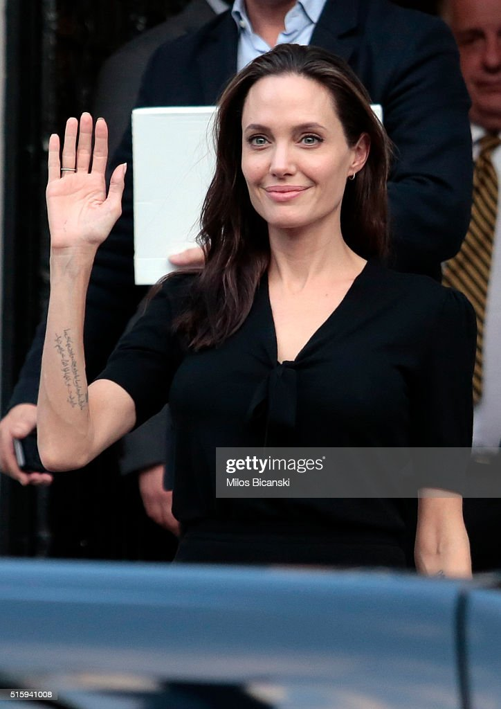 Special envoy of the United Nations High Commissioner for Refugees <a gi-track='captionPersonalityLinkClicked' href=/galleries/search?phrase=Angelina+Jolie&family=editorial&specificpeople=201591 ng-click='$event.stopPropagation()'>Angelina Jolie</a> leaving the Greek Prime minister's office after a meeting with Greek Prime Minister Alexis Tsipras on March 16, 2016 in Athens, Greece.
