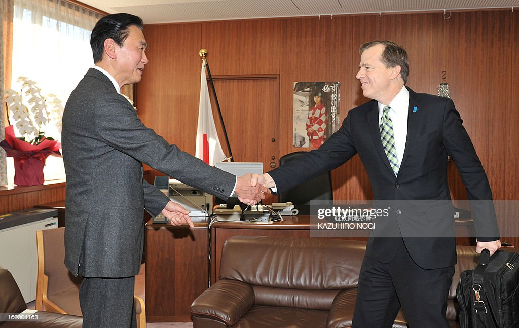 US special envoy on North Korea Glyn Davies (R) meets with Keiji Furuya (L), state minister in charge of North Korea's abduction of Japanese citizens, at the latter's office in Tokyo on January 29, 2013. Davies is in Tokyo to meet with his Japanese counterpart after visiting Seoul and Beijing as North Korea threatens daily that it is preparing its third nuclear test in response to UN sanctions imposed on Pyongyang for a long-range rocket launch in December. In 2002 North Korea admitted to kidnapping 13 Japanese in the 1970s and 1980s to teach its spies about the Japanese language and culture and Tokyo still insists that clearing up the abduction issue is paramount to any negotiations between the two countries.
