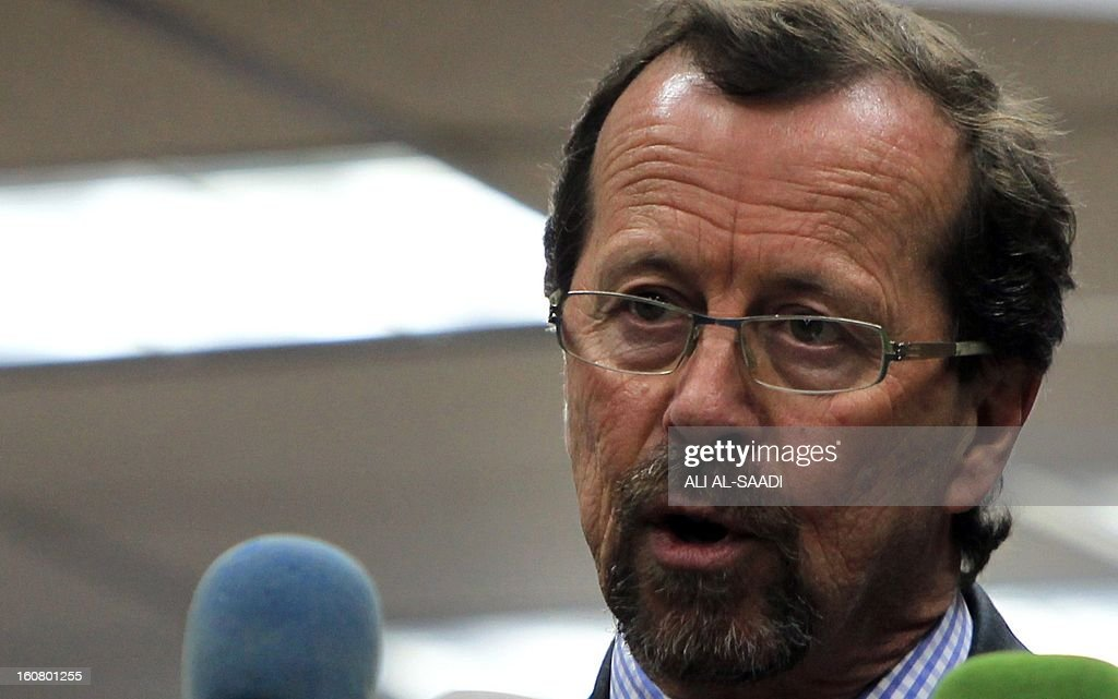 UN special envoy to Iraq Martin Kobler speaks during a press conference at the headquarters of the electoral commission, on February 6, 2013 in Baghdad. Security concerns sparked by anti-government rallies in mostly-Sunni areas of Iraq in recent weeks could hamper provincial polls due in April, a top election official said.