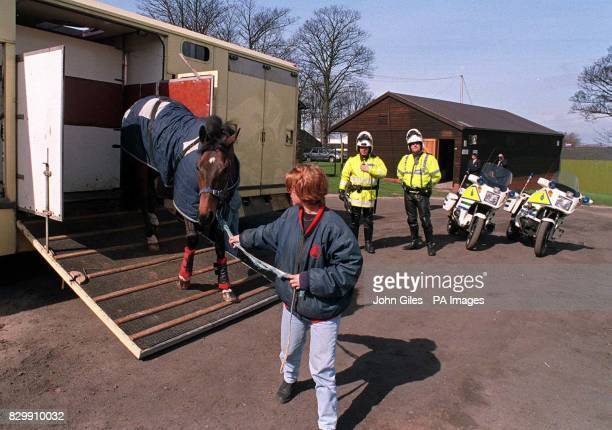 Special escort for trainer Martin Pipe's Aintree horses after his horsebox was trapped in the massive traffic jams in the Midlands following today's...