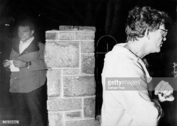 Special For Denver Post Gary Hart right walks away from Miami Herald reporter Jim McGee and returns to his Capitol Hill townhouse after answering...