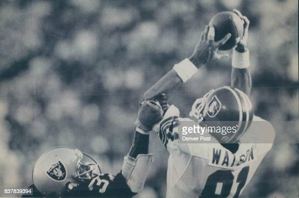 Special For The Denver Post attn Tom Patterson Lester Hayes of the Raiders knocks the pass away from Steve Watson of the Broncos in the end zone...