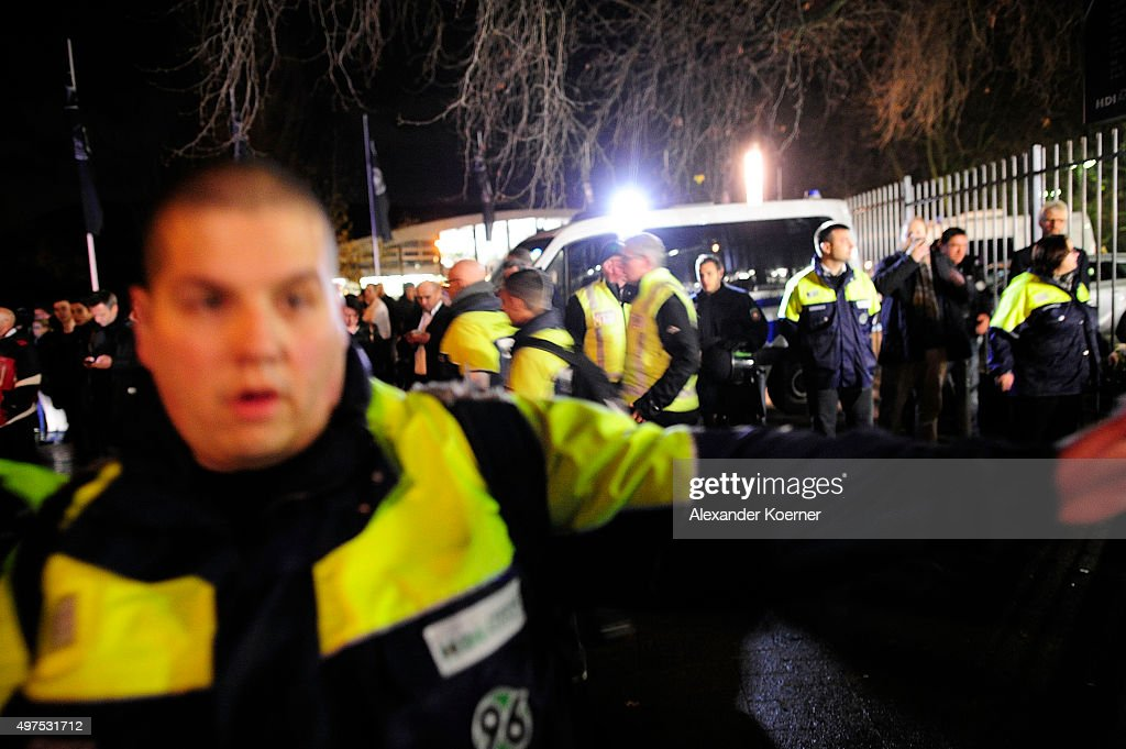 Special forces drive inside the HDIArena after a bomb alert prior the match Germany against the Netherlands at the HDIArena on November 17 2015 in...